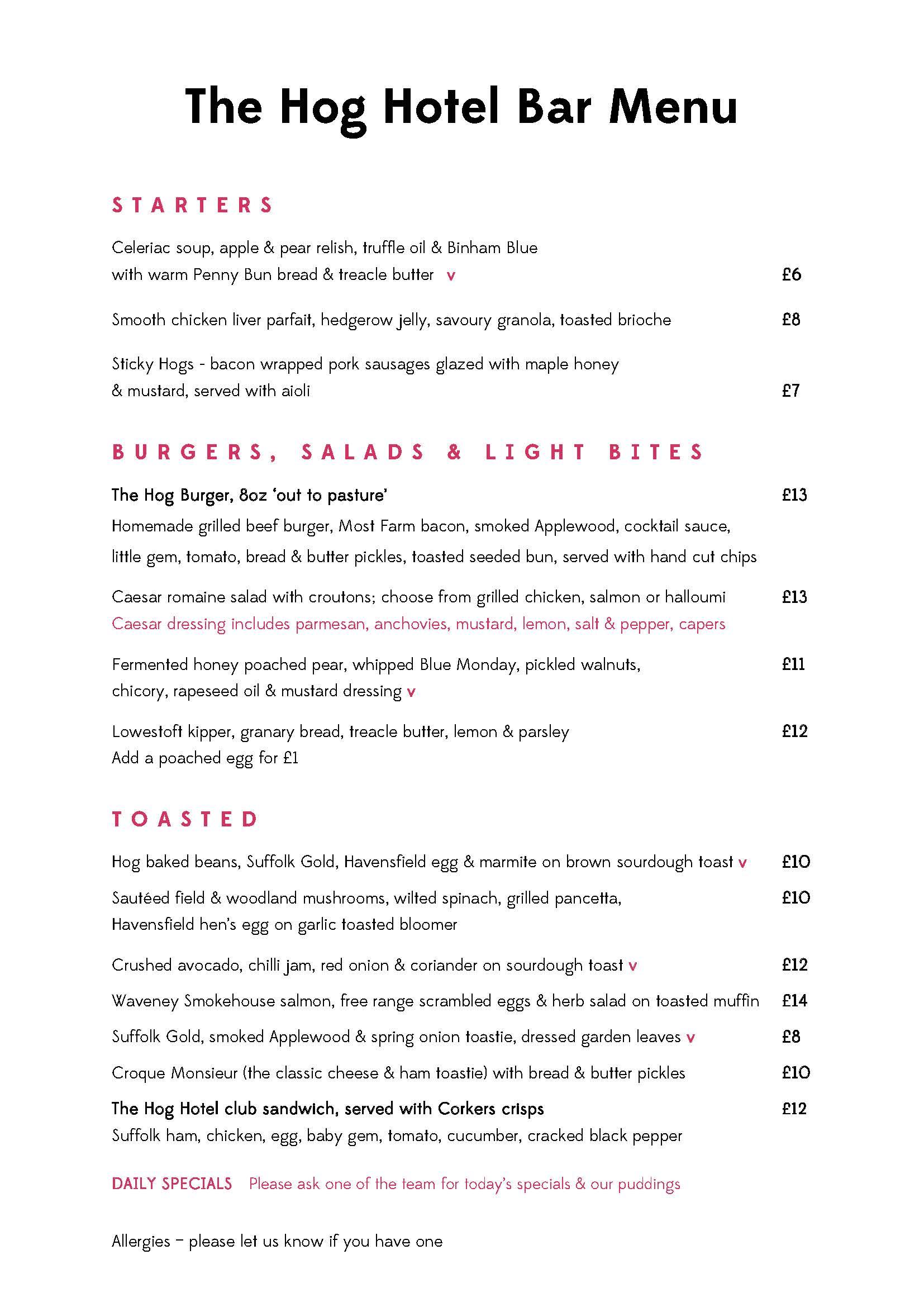 November bar menu